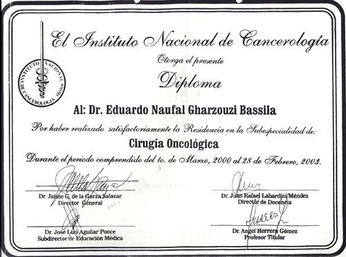 Dr. Eduardo Gharzouzi, Diploma Cirugia Oncológica